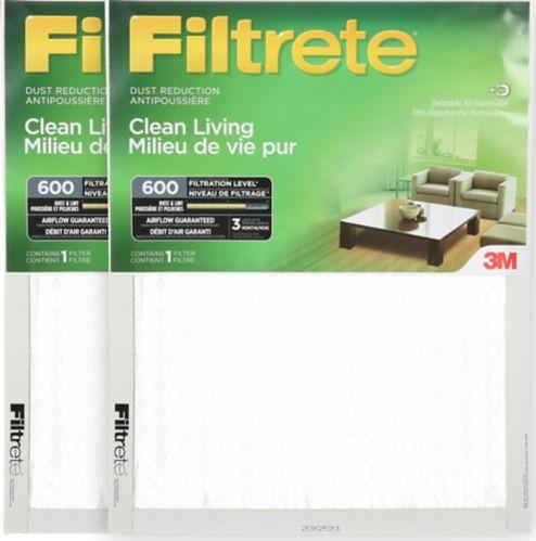 Filtre pour réduction de la poussière 3M Filtrete, milieu de vie pur, MPR 600, 20 x 25 x 1 po, paq. 2 Image de l'article
