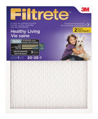3M™ Filtrete™ Healthy Living Ultra Allergen Filter, MPR 1500, 20-in x 25-in x 1-in, 2-pk Product image