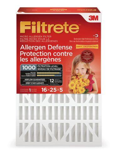 Filtre à plis profonds Filtrete 3M Protection contre les allergènes, 1 000 MPR, 16 x 25 x 5 po, paq. 1 Image de l'article