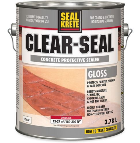 SealKrete Clear-Seal Concrete Protective Sealer, Gloss, Low VOC, 3.78-L
