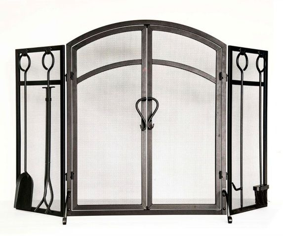 3-Panel Classic Arched Top Fireplace Screen with Doors & Tools