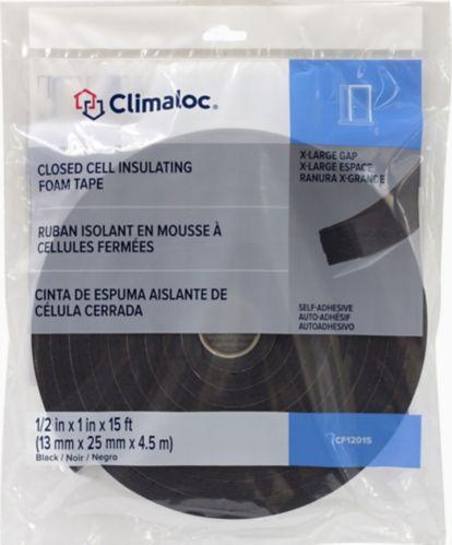 Coupe-froid Climaloc en ruban-mousse adhésif, noir, 1/2 x 1 po x 5 pi