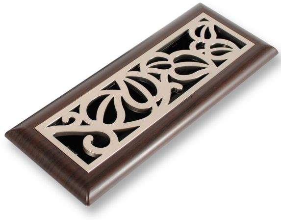Plastic Floor Register, Vine Satin Nickel Product image