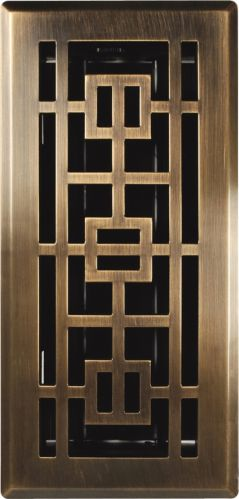 Registre de plancher oriental en laiton patiné, 4 x 10 po Image de l'article