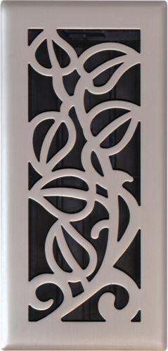 Satin Nickel Vine Floor Register, 4-in x 10-in