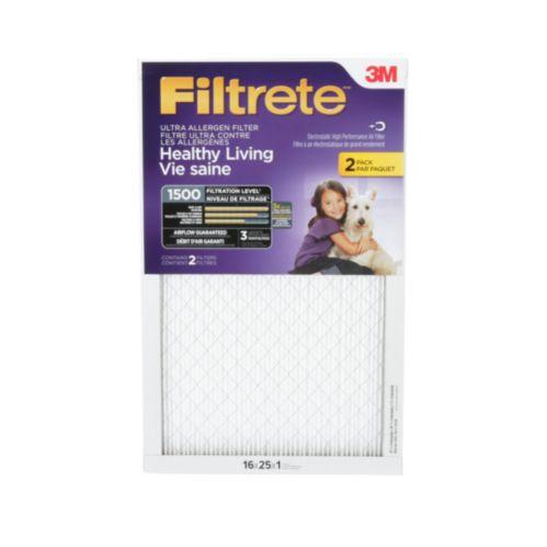 Filtre ultra pour réduction des allergènes 3M Filtrete, vie saine, MPR 1500, 16 x 25 x 1 po, paq. 2 Image de l'article