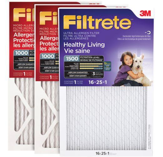 Paquet combiné 3M Filtrete, Micro Allergène MPR1000 et Ultra Allergène MPR 1500, 16 po x 25 po x 1 po, paq. 3