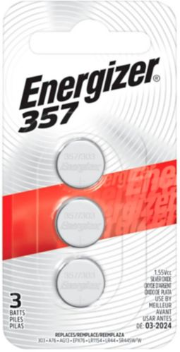 Piles bouton à oxyde d'argent de 1,5 V Energizer, 357, paq. 3 Image de l'article