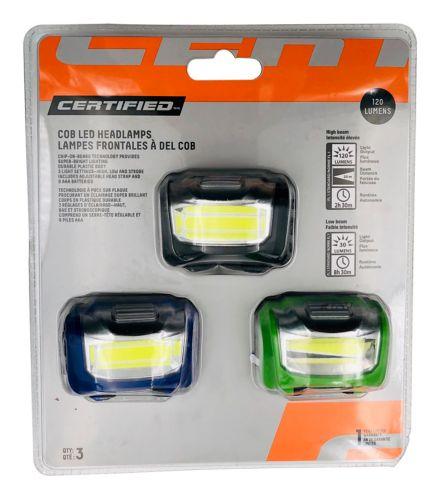 Certified COB LED Headlamp, 3-pk