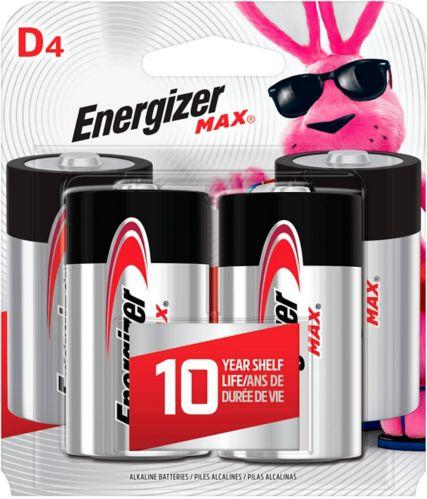 Energizer Max Alkaline D Batteries, 4-pk