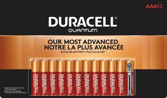 Piles AAA alcalines Duracell Quantum, paq. 12 Image de l'article