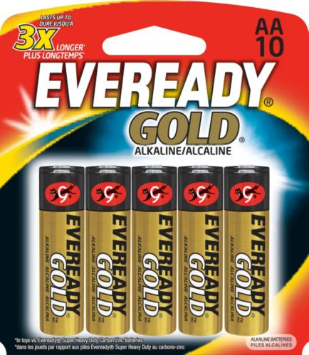 Piles AA alcalines Eveready Gold, paq. 10 Image de l'article