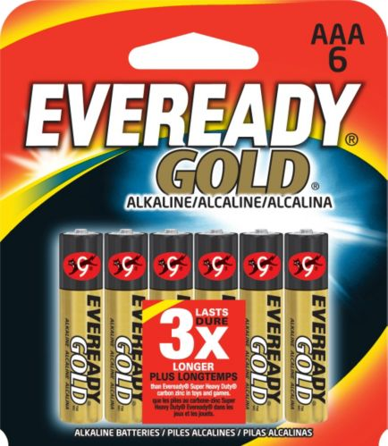 Piles AAA alcalines Eveready Gold, paq. 6
