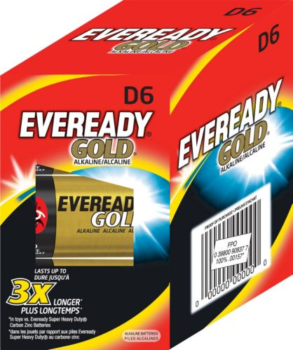 Piles D alcalines Eveready Gold, paq. 6