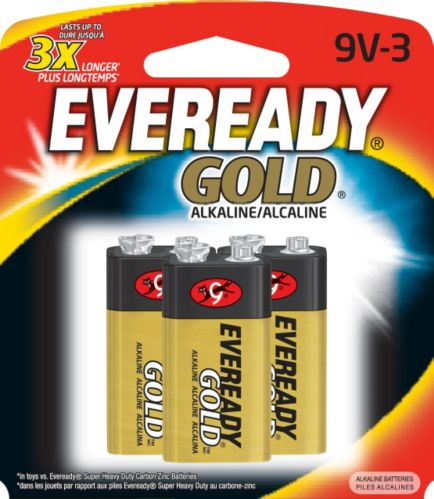 Piles 9 V alcalines Eveready Gold, paq. 3 Image de l'article