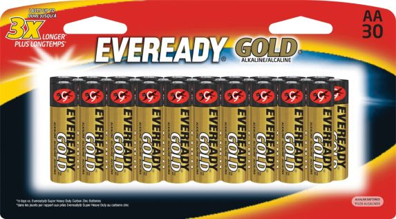 Piles AA alcalines Eveready Gold, paq. 30 Image de l'article