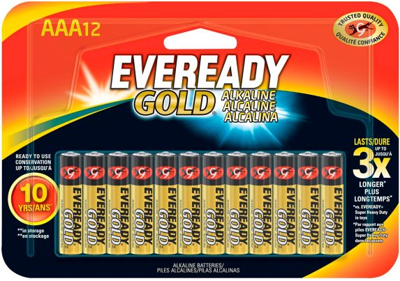 Eveready Gold AAA Alkaline Batteries, 12-pk