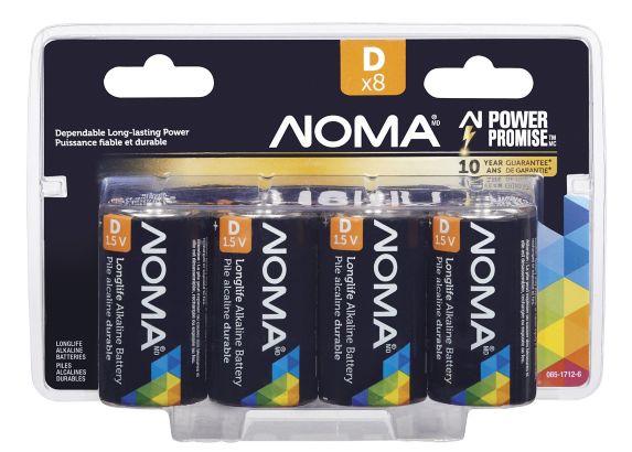 NOMA D Alkaline Battery, 8-pk