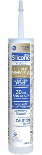 Scellant GE à la silicone II, portes et fenêtres, transparent, 299 ml