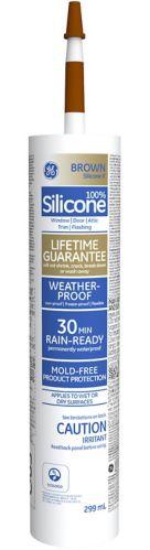 Scellant GE à la silicone II, portes et fenêtres, brun, 299 ml Image de l'article