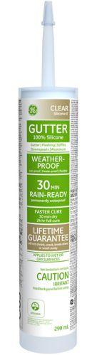 Scellant GE pour gouttières et solins, transparent, 299 ml