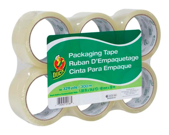Duct Packaging Tape, 1.88-in x 164-ft, 6-pk
