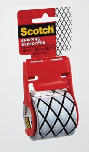 Ruban d'emballage Scotch Expédition, zigzag noir et blanc Image de l'article
