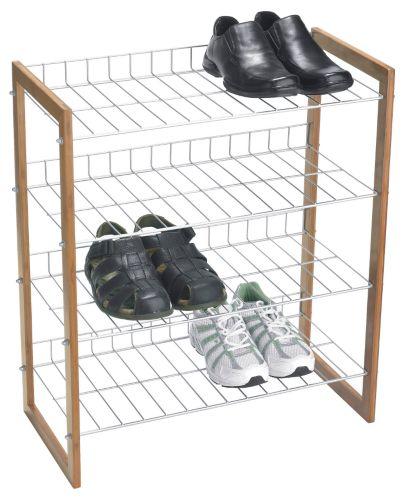 Range-chaussures en bambou et métal