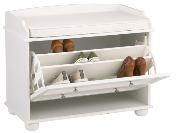 For Living White Shoe Cabinet with Bench Product image