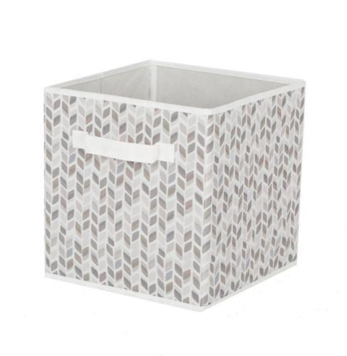 CANVAS Fabric Drawer Cube Basket, White & Grey Tiled Product image