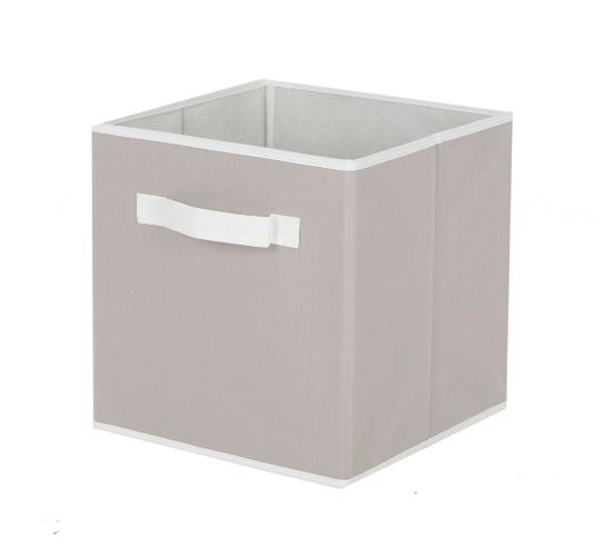 CANVAS Fabric Drawer Cube Basket, Light Grey & White Borders Product image
