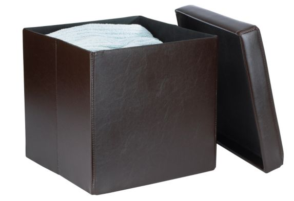 For Living Foldable Storage Ottoman, Brown Product image
