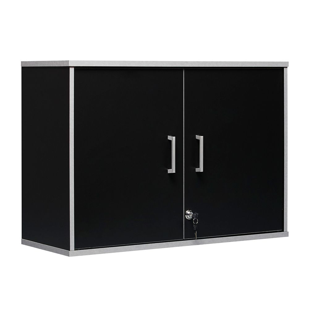 System Build 2-Door Storage Wall Cabinet, Black