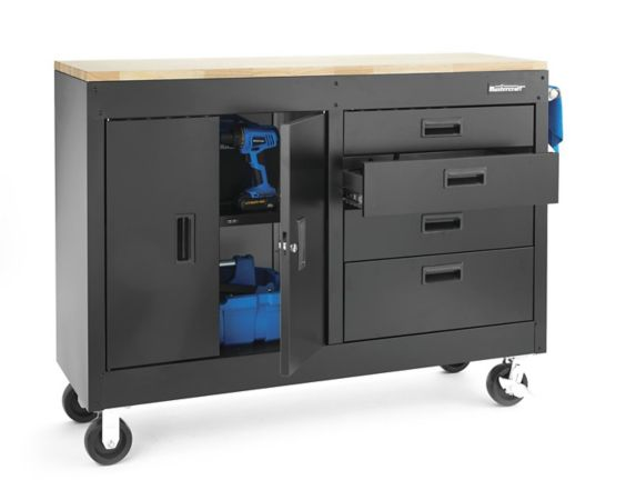 Mastercraft 4-Drawer 2-Door Rolling Work Station, 54-in Product image