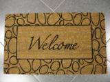 Tapis PVC et fibre de coco, Welcome, motif de pierres