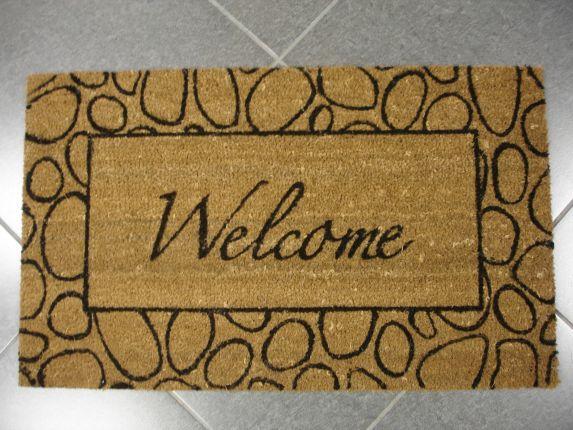 Tapis PVC et fibre de coco, Welcome, motif de pierres Image de l'article