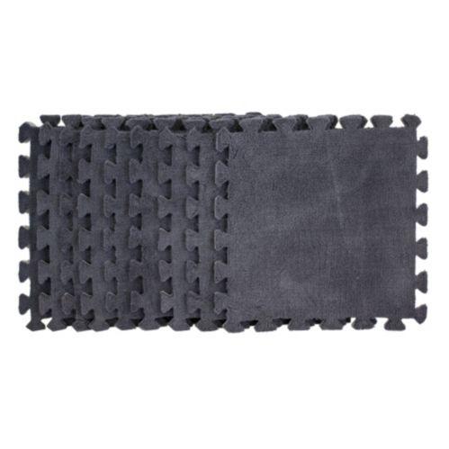 Carreaux de tapis pelucheux, gris, paq. 9