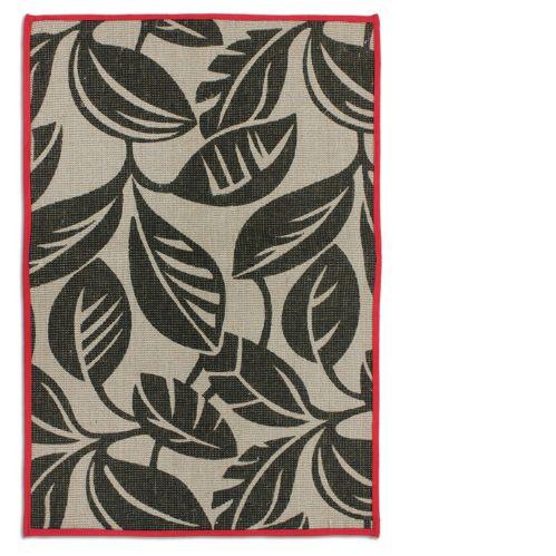 Carpette en jute à imprimé de feuilles rouge/brun, 20 x 30 p Image de l'article
