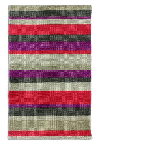 Carpette imprimée en coton rayé, rouge, 20 x 30 po
