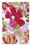 Red Daisy Flower Cotton Printed Rug, 20 x 30-in