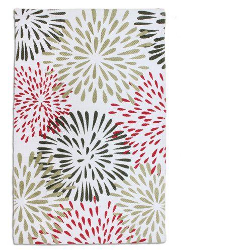 Red Starburst Cotton Printed Rug, 20 x 30-in