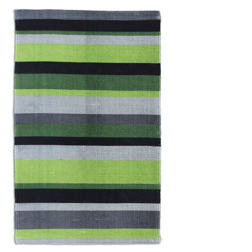 Green Stripe Cotton Printed Rug, 20 x 30-in