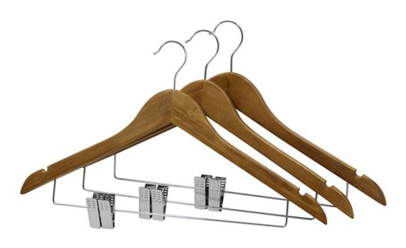 type A Walnut Wood Hanger with Clips, 3-pk Product image