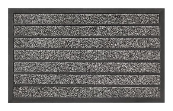 For Living Faux Coir Ribbed Door Mat, Grey, 18-in x 30-in Product image