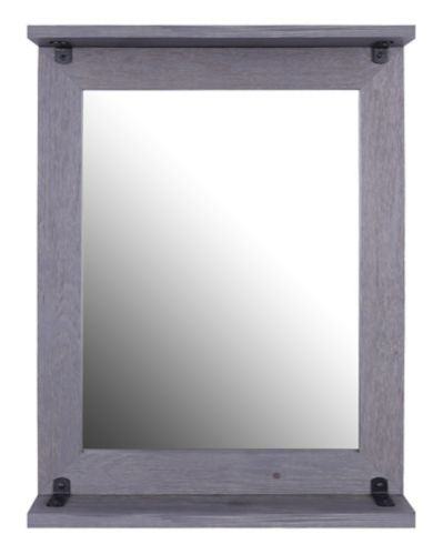 Canvas Odell Grey Wood Mirror with Shelf