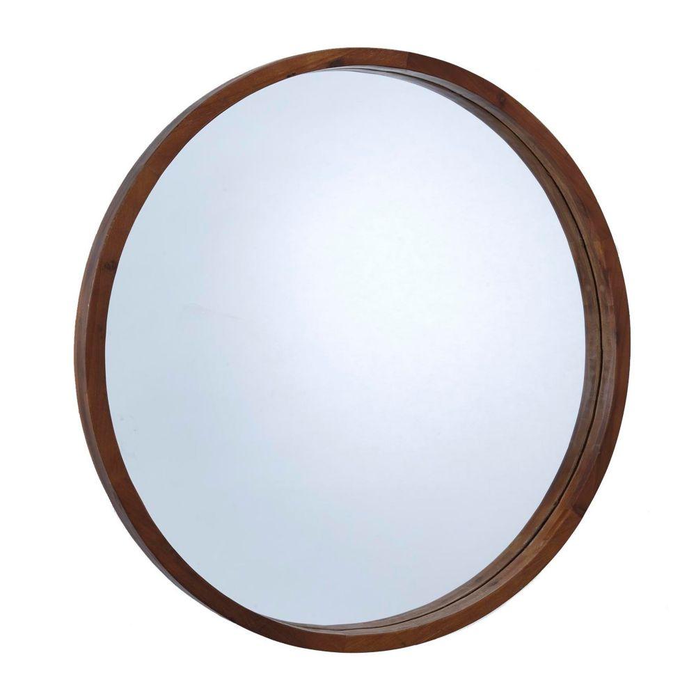 Canvas Mina Round Wood Mirror, 30-in