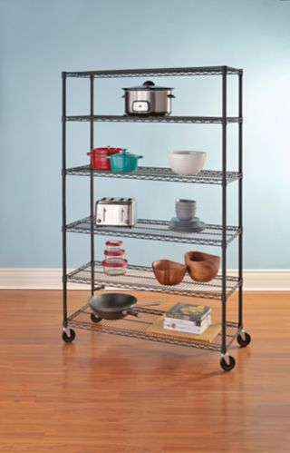 For Living 6-Tier Shelving Unit with Wheels, Black Product image