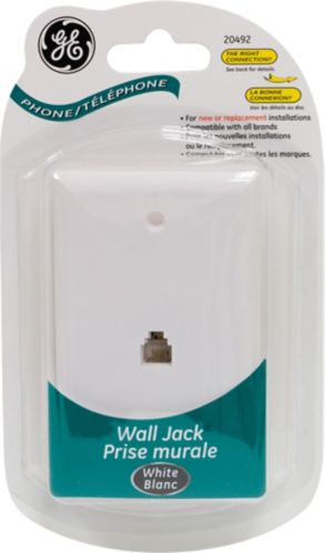 GE Telephone Wall Jack, White Product image