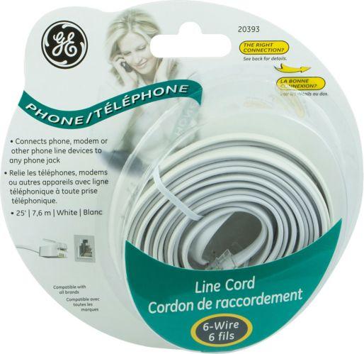 Cordon de téléphone GE, blanc, 25 pi Image de l'article