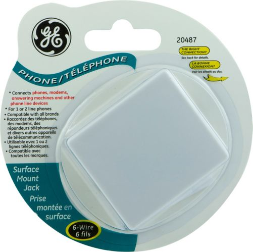 GE Surface Mount Jack, 6-Wire Product image